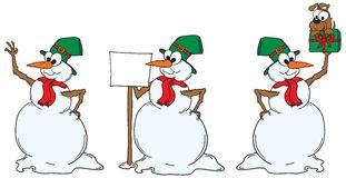 Three vector snowmen in various poses. Vector illustration of 3 snowman in various poses on white. The vector can be scaled to any size Royalty Free Stock Photo