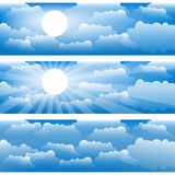Three vector strips with sky and clouds. Stock Image