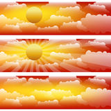 Three vector strips with sunset  sky and clouds. Royalty Free Stock Photos