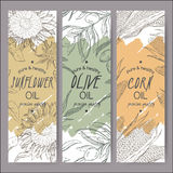 Three vector sunflower, olive, corn oil label templates. Royalty Free Stock Photo