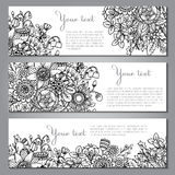 Three vector templates with beautiful monochrome floral pattern Royalty Free Stock Photos