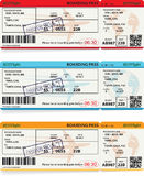 Three vector templates of boarding pass tickets. Concept of trip or travel Royalty Free Stock Photography