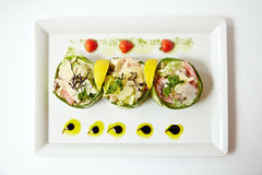 Three vegetable salads on one dish Royalty Free Stock Photography