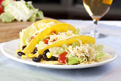 Three Vegetarian Tacos Stock Photo