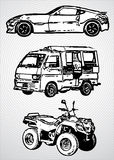 Three vehicles for different purposes - vector Royalty Free Stock Photos