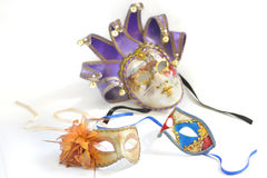 Three Venetian masks for a party Royalty Free Stock Photos