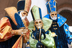 Three Venice Masks, Carnival. Royalty Free Stock Images