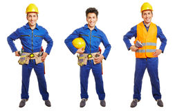 Three versions of blue collar worker. With overall and hardhat isolated on white royalty free stock photo