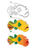 Three versions of a cartoon illustration of deep-water fish: black-and-white sketch, color, gradient. Stylized drawing of fish for children book illustration Stock Images