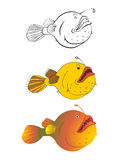 Three versions of a cartoon illustration of deep-water fish: black-and-white sketch, color, gradient. Stylized drawing of fish for children book illustration Stock Image