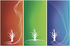 Three versions of floral tree backgrounds with but. Vector illustrations of three gradient mesh backgrounds with floral and lined art: blue - edgy, red - flowing Stock Images