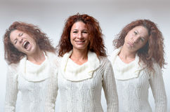 Three versions of woman in different moods Stock Image