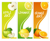 Three vertical banners with apple, leon and orange fruits. Cartoon vector illustration Royalty Free Stock Images