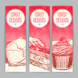 Three vertical banners with desserts Stock Photos