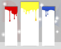 Three vertical banners with dripping paint. Stock Images