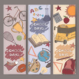 Three vertical banners with school related color sketches. Royalty Free Stock Photography