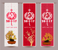 Three Vertical banners set for chinese new year of rooster Stock Image