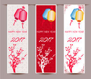 Three Vertical banners set for chinese new year of rooster Stock Photo