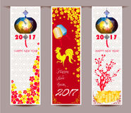 Three Vertical banners set for chinese new year of rooster Stock Photography