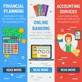 Three vertical financial banners. Vector vertical banners financial concept. Financial planning, online banking, accounting services in flat style. Web banners Stock Photo
