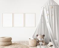 Free Three Vertical Frames In Children Room Mock Up, Kids Room Design In Farmhouse Style Stock Photo - 196348300