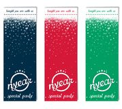Three vertical ticket for Christmas party Stock Photos