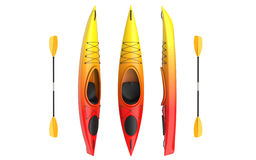 Three vertical views of yellow rad crossover kayak with paddle. Whitewater and river running kayak. 3D render, isolated Royalty Free Stock Photography