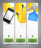 Three vertical website banners. Website vertical banners with three different themes Stock Photos