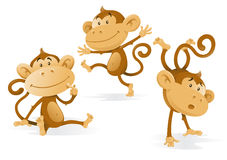 Three Very Cheeky Monkeys. Illustration of a group of monkeys getting up to all sorts of mischievous tricks and fun Stock Photography