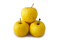 Three very old golden apples. Over white background Royalty Free Stock Images