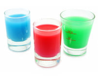 Three vessels with acid substance. Isolated on a white background Royalty Free Stock Image