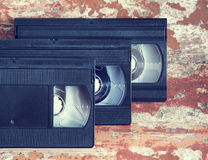 Three videocassette close up Stock Photo