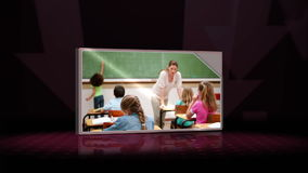 Three videos of a classroom against a black background Stock Photos