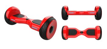 Three view of red hoverboard, dual wheel self balancing scooter. 3d rendering of self-balancing board, isolated on Royalty Free Stock Photo