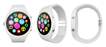 Three view White round smart watch on white background Stock Images