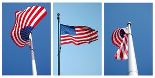 Three views of American flag Stock Images