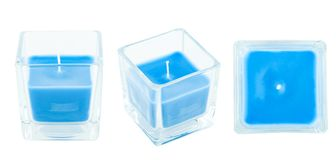 Three views of blue candle. In glass pot isolated on white Royalty Free Stock Photo