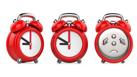 Three views of cartoon red alarm clock. 3d Illustration,  on white background. Royalty Free Stock Photography
