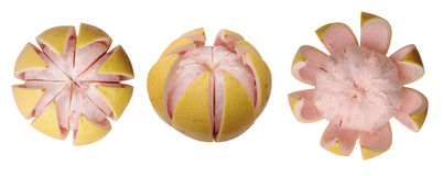 Three views of cutting pomelo Royalty Free Stock Photo