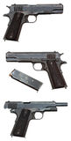 Three views of a military pistol Royalty Free Stock Photo