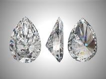 Three views of pear diamond. Bottom, Top, and side views of pear diamond. Over grey Stock Photo