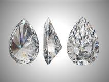 Three views of pear diamond. 3d render Stock Photography