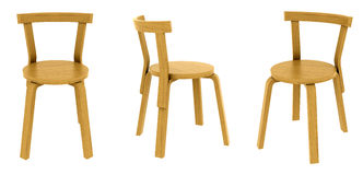 Three views of a wooden chair Stock Images