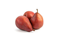 Three vinous pears  on white Stock Photos