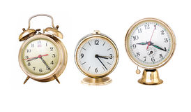 Three vintage alarm clocks collage isolated Stock Photography