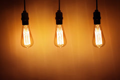Three vintage bulb lamps Royalty Free Stock Images