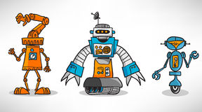 Three vintage cartoon robot Royalty Free Stock Photo