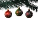 Three vintage christmas balls on branch Stock Photos