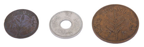 Isolated Vintage Palestine Mil Coins. Three vintage coins from pre-Israel Palestine (1930's), called Mil. From left to right - 1 Mils, 5 Mils, 2 Mils. Isolated Stock Images