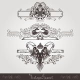 Three vintage engraving banners with different birds and pattern Royalty Free Stock Photography